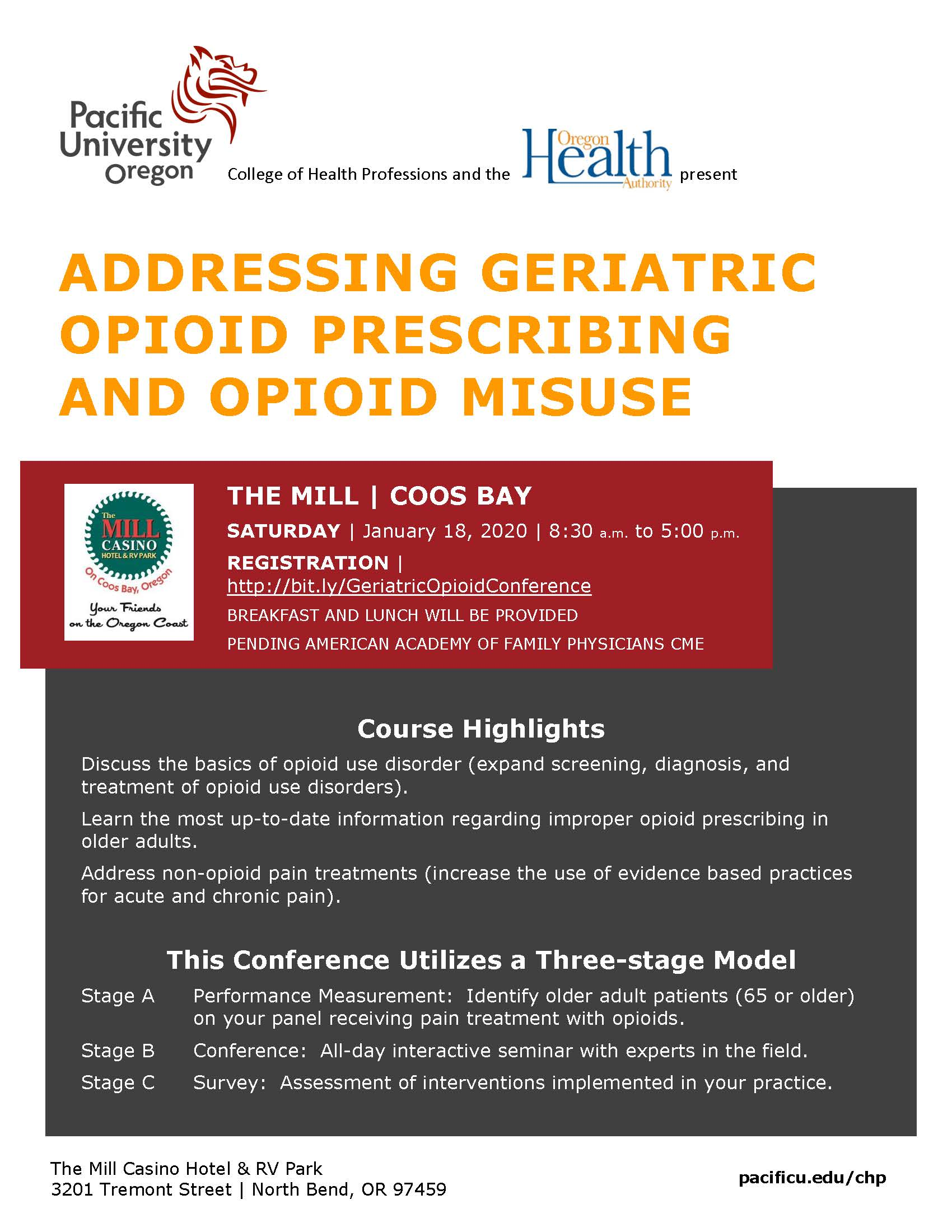 Course Highlights Discuss the basics of opioid use disorder (expand screening, diagnosis, and treatment of opioid use disorders). Learn the most up-to-date information regarding improper opioid prescribing in older adults. Address non-opioid pain treatments (increase the use of evidence based practices for acute and chronic pain). This Conference Utilizes a Three-stage Model Stage A Performance Measurement: Identify older adult patients (65 or older) on your panel receiving pain treatment with opioids. Stage B Conference: All-day interactive seminar with experts in the field. Stage C Survey: Assessment of interventions implemented in your practice.