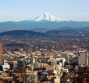 Portland Skyline with Mount Hood